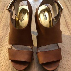 Michael Kors brown leather heels. Size 9